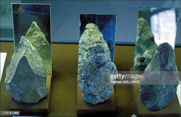 The Prehistory Museum in Tautavel France on June 23 1992 Stones chiseled by 'homo erectus' of Tautavel