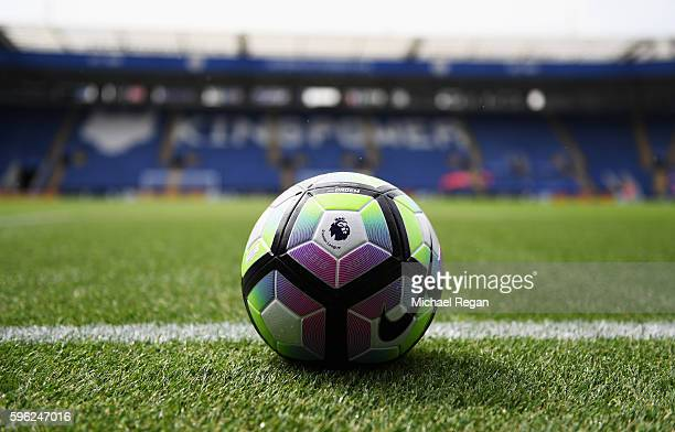 The preimer league ball takes place in prepation for the warm ups during the Premier League match between Leicester City and Swansea City at The King...