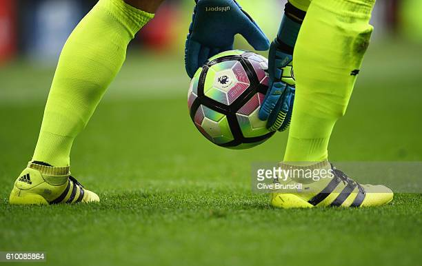 The preimer leauge ball during the Premier League match between Manchester United and Leicester City at Old Trafford on September 24 2016 in...