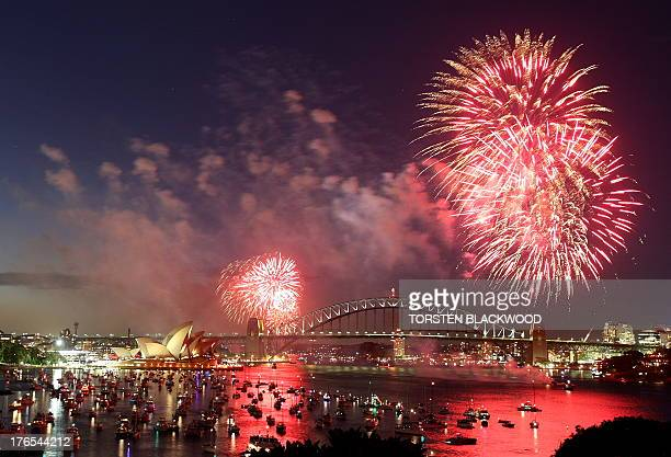 The premidnight New Year's Eve fireworks based on the Aboriginal theme 'Creation Storm' explodes above the Sydney Harbour Bridge and the Opera House...