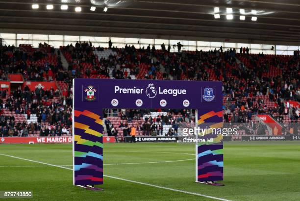 The Premier League arch for the rainbow laces campaign during the Premier League match between Southampton and Everton at St Mary's Stadium on...