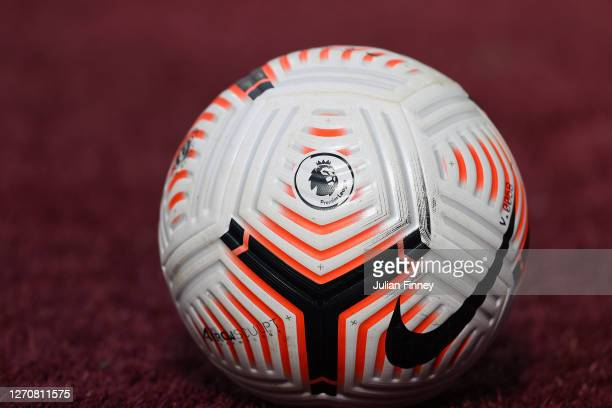 The Premier League ball is seen during the pre-season friendly match between West Ham United and AFC Bournemouth at London Stadium on September 05,...