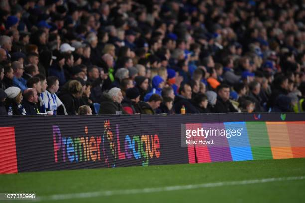 The Premier League logo appears in rainbow colours in support of the LGBT community during the Premier League match between Brighton Hove Albion and...