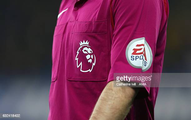 The Premier League logo / badge on the shirt of a referee during the Premier League match between Chelsea and Hull City at Stamford Bridge on January...