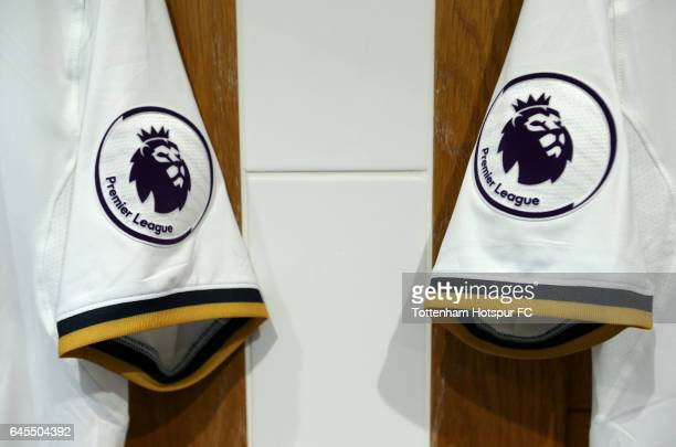The Premier League logo is displayed on Tottenham Hotspur shirts in the dressing room prior to the Premier League match between Tottenham Hotspur and...