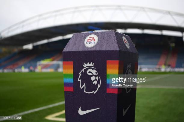 The Premier League logo is seen along side the 'This is Everyone's Game' campaign branding prior to the Premier League match between Huddersfield...
