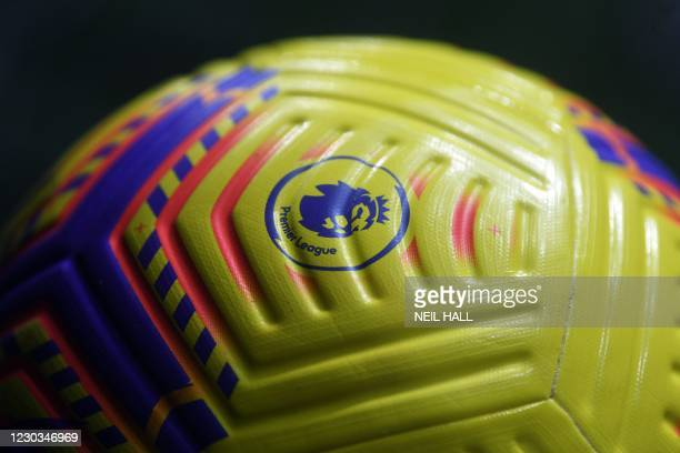 The Premier League logo is seen on the Hi-Vis Nike Flight football during the English Premier League football match between Brighton and Hove Albion...