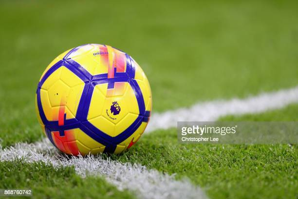 The Premier league logo is seen on the new Nike winter football during the Premier League match between AFC Bournemouth and Chelsea at Vitality...
