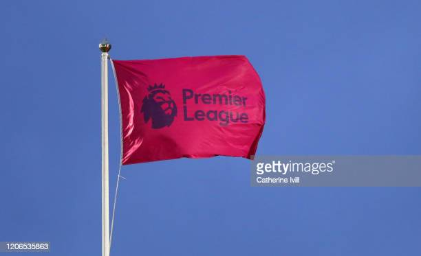 The Premier League logo on a flag during the Premier League match between Norwich City and Liverpool FC at Carrow Road on February 15, 2020 in...