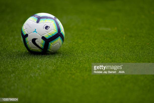 The Premier League Nike Ordem match ball is seen during the Premier League match between Newcastle United and Arsenal FC at St James Park on...