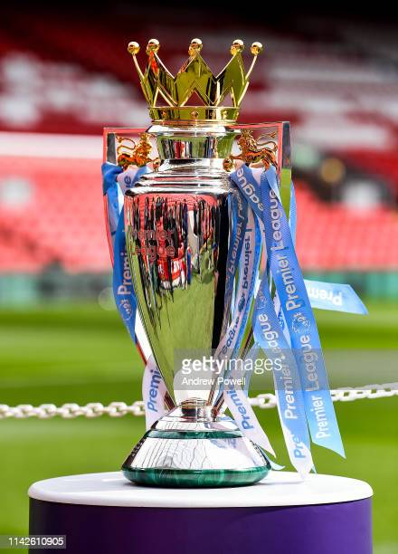 The Premier League Trophy at Anfield before the Premier League match between Liverpool FC and Chelsea FC at Anfield on April 14, 2019 in Liverpool,...