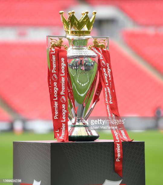 The Premier League trophy before the FA Community Shield match between Arsenal and Liverpool at Wembley Stadium on August 29, 2020 in London, England.