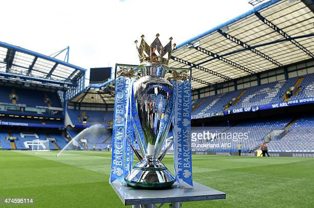 The Premier League trophy is displayed prior to the Barclays Premier League match between Chelsea and Sunderland at Stamford Bridge on May 24 2015 in...