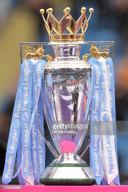 The Premier League trophy is seen ahead of the award ceremony after the English Premier League football match between Manchester City and Everton at...