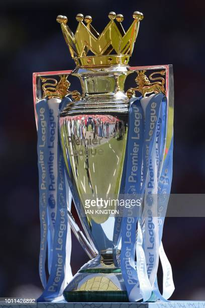 The Premier league trophy is seen pitchside at the English FA Community Shield football match between Chelsea and Manchester City at Wembley Stadium...