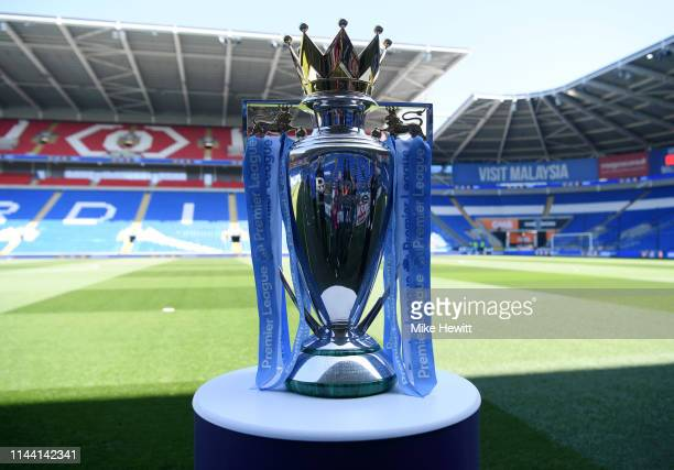 The Premier League trophy on display prior to the Premier League match between Cardiff City and Liverpool FC at Cardiff City Stadium on April 21 2019...