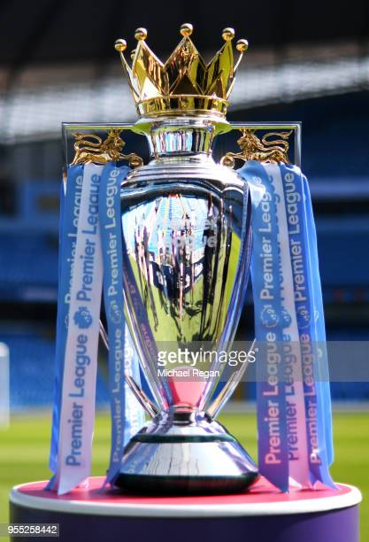 The Premier League Trophy on display prior to the Premier League match between Manchester City and Huddersfield Town at Etihad Stadium on May 6, 2018...