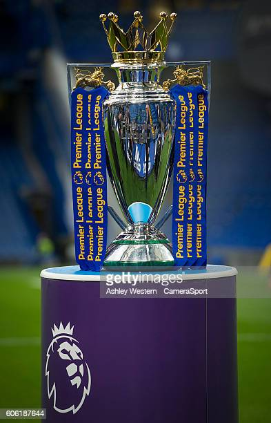 The Premier League Trophy on show before Chelsea Liverpool game during the Premier League match between Chelsea and Liverpool at Stamford Bridge on...