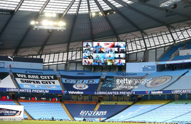 The premier leauge fan wall is seen on the big screen during the Premier League match between Manchester City and Burnley FC at Etihad Stadium on...