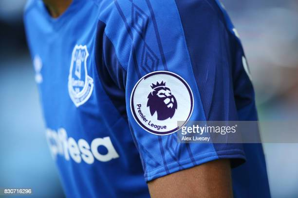 The Premier Logo is seen on the arm of the shirt of an Everton player during the Premier League match between Everton and Stoke City at Goodison Park...