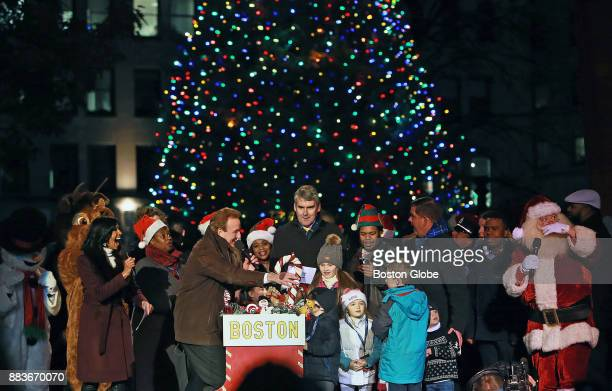 The Premier of Nova Scotia Steven McNeil helps light the tree Nova Scotia gifts to Boston each year at the annual Holiday Tree Lighting ceremony on...