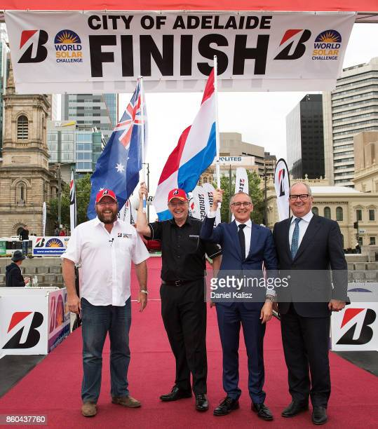 The Premier of South Australia Jay Weatherill and Leon Bignell MP pose for a photo on Day 5 of the 2017 Bridgestone World Solar Challenge at Victoria...