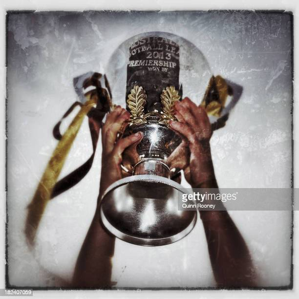 The Premiership Cup is held aloft after the Hawks won the 2013 AFL Grand Final match between the Hawthorn Hawks and the Fremantle Dockers at...