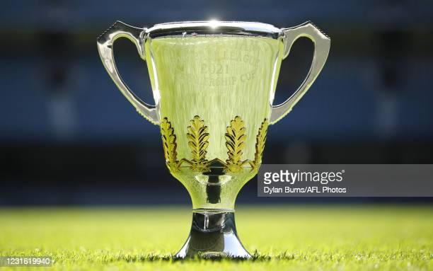 The premiership cup is seen during the 2021 AFL Captains Day at Marvel Stadium on March 10, 2021 in Melbourne, Australia.