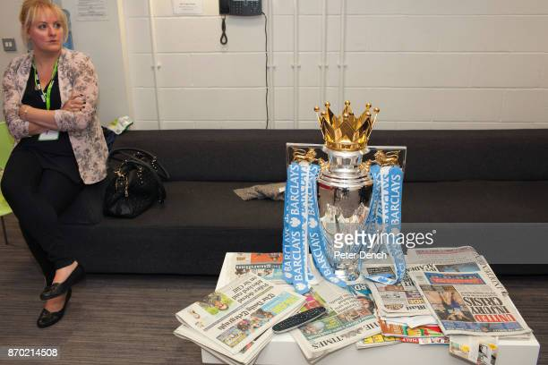 The Premiership football league trophy in the green room at the BBC Match of the Day is the BBC's main football television programme Typically it is...