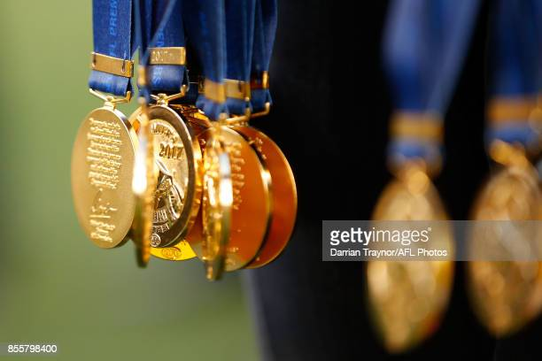 The premiership medals are seen after the 2017 AFL Grand Final match between the Adelaide Crows and the Richmond Tigers at Melbourne Cricket Ground...