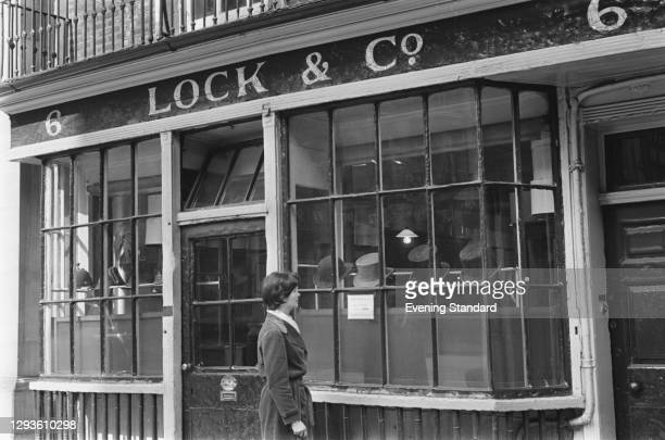 The premises of James Lock and Co, the world's oldest hat shop, at 6 St James's Street, London, UK, April 1967.