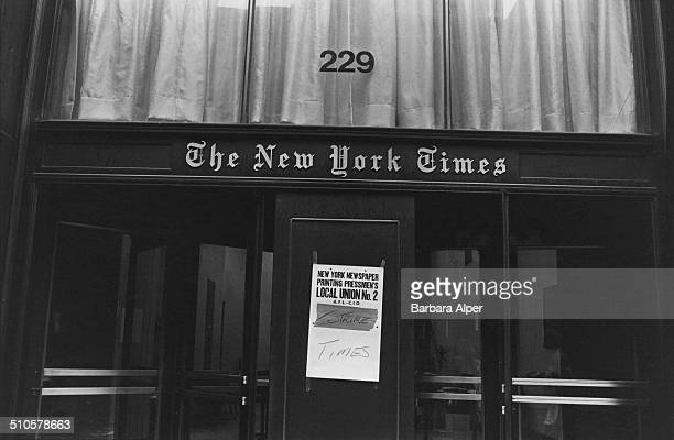 The premises of The New York Times during a strike by the newspaper printing pressmen's local union, New York City, USA, 1978.