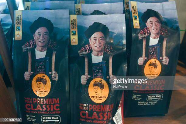 The Premium Classic Doi Chaang coffee on display for sale inside a coffee shop in Chiang Rai The Doi Chaang brand has been rated in the top 1% of...