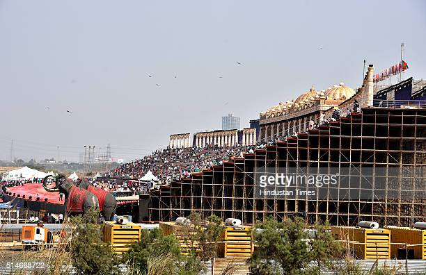 The preparation work being carried out for the World Cultural Festival organized by Art of Living foundation at the Bank of River Yamuna on March 10...