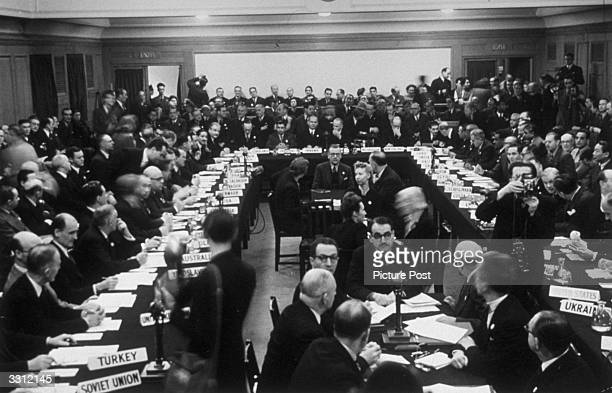 The Preparatory Commission of the United Nations in the main conference room at Church House Westminster London Original Publication Picture Post...