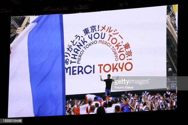 The presentation for Paris 2024 is seen during the Closing Ceremony of the Tokyo 2020 Olympic Games at Olympic Stadium on August 08, 2021 in Tokyo,...
