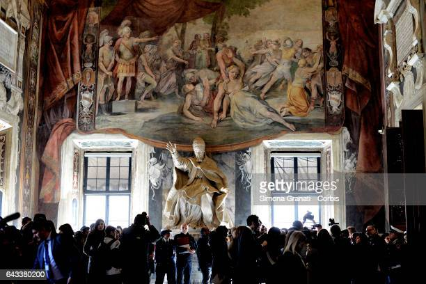 The presentation of the restoration of the Orazi and Curiazi room at the Capitoline Museums on February 20, 2017 in Rome, Italy.