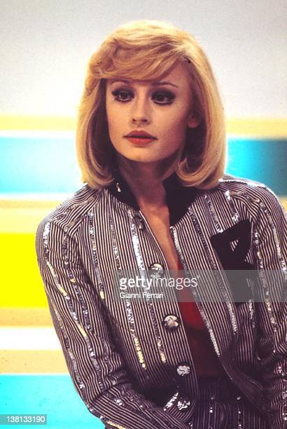 The presenter of television and Italian singer Raffaella Carra in a spectacle of the Spanish Television Madrid Spain