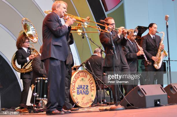 The Preservation Hall Jazz Band performs onstage at the Playboy Jazz Festival at the Hollywood Bowl on June 17 2012 in Los Angeles California