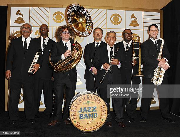 The Preservation Hall Jazz Band poses in the press room at the The 58th GRAMMY Awards at Staples Center on February 15 2016 in Los Angeles California