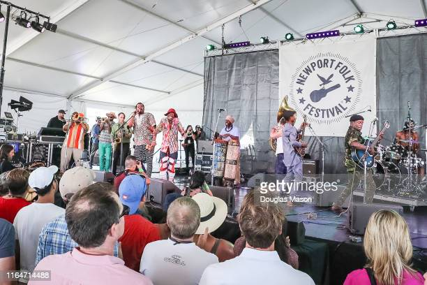 The Preservation Hall Jazz Band sits in with Jupiter and Okwess during the Newport Folk Festival 2019 the 60th anniversary at Fort Adams State Park...