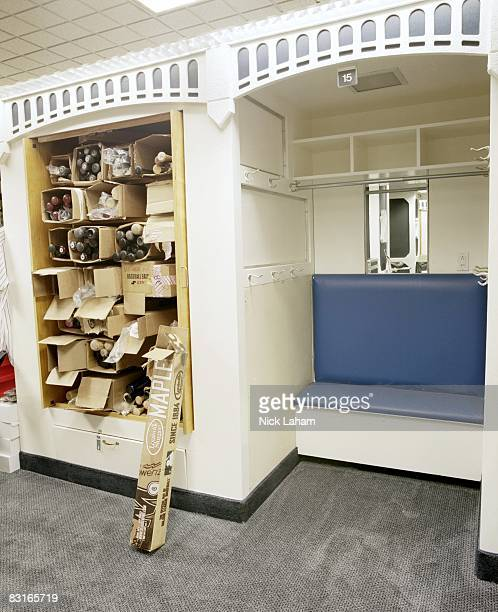 The preserved locker of Thurman Munson is seen in the New York Yankees locker room at Yankee Stadium on September 11, 2008 in the Bronx borough of...