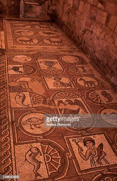The preserved mosaic floor of Petra's Byzantine Church. The church dates to the late 5th and early 6th centuries.