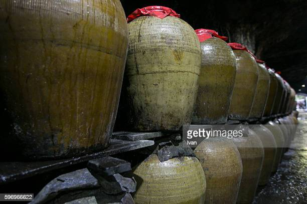 The Preserved, Stored and Aged Chinese Spirit, Alcoholic, Liquor, Beverages, Rice Wine in the Chinese Sealed Jars