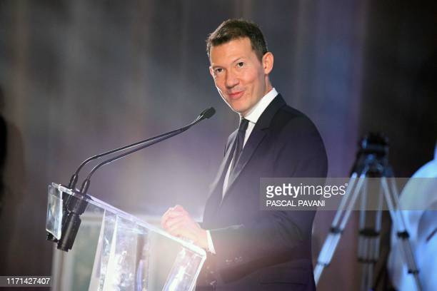 The President and CEO of Air France Benjamin Smith speaks during the ceremony for the delivery of the company's first Airbus A350 on September 27...