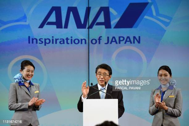 The President and CEO of ANA Holdings Inc Shinya Katanozaka delivers a speech during the ceremony for the delivery of the first Airbus A380 to the...