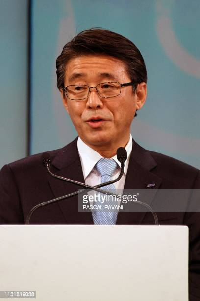 The President and CEO of ANA Holdings Inc Shinya Katanozaka speacks during a ceremony for the delivery of the first Airbus A380 to the Japanese...