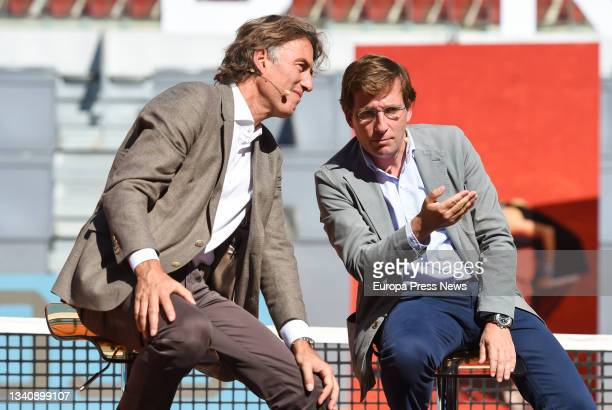 The President and CEO of Madrid Trophy Promotion, Gerard Tsobaniann , and the Mayor of Madrid, Jose Luis Martinez-Almeida, talk during the signing...