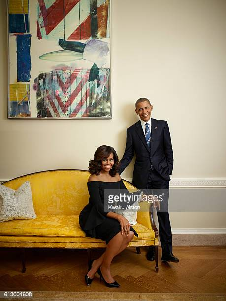 The President and First Lady of the United States of America Barack Obama Michelle Obama are photographed for Essence Magazine on July 20 2016 in...