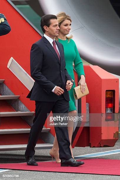 The President and his wife arrive at Copenhagen Airport at the start of the State visit of the President of The United Mexican States President...